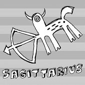 archaistic horoscope, hand drawn sign of the zodiac sagittarius