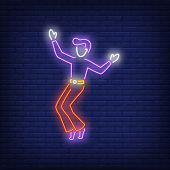 Hip-hop Dancer Neon Sign. Glowing Neon Dancer On Brick Wall Background. Vector Illustration Can Be U poster