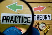 Practice Or Theory Opposite Direction Signs On Magnifying With Sneaker And Compass On Wooden Vintage poster