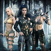 Portrait Of A Group Of Fantasy Females Embarking On An Epic Adventure. 3d Rendering poster