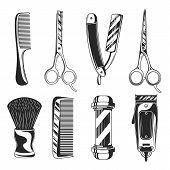Vintage Barber Shop Set Items. Barbershop  Equipments. Barber Pole, Razor Blade, Hair Clipper, Sciss poster
