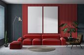 Red And Gray Living Room With Posters poster