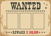 Wanted Poster.vector Western Illustration With Text And Space For Portraits poster