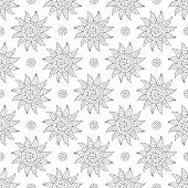 Design Of Page For Coloring Book With Seamless Pattern Of Hand-drawn Suns. Continuous Symmetric Colo poster