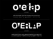 Modern Alphabet Font Overlap Style. Calligraphy Black Color Fonts Designs. Typography Font Uppercase poster