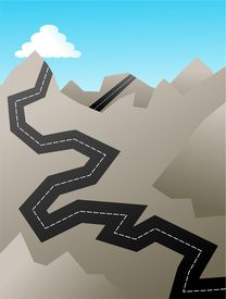image of mountain-range  - jagged road travelling through the rocky mountain peaks - JPG