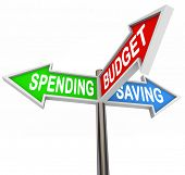 Three road signs pointing to Spending, Saving and Budget to symbolize budgeting and savings in your