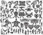 stock photo of monster symbol  - Iconic Dragons Butterfly  Eagle Tattoo Tribal Vector Set - JPG