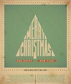 Постер, плакат: Ретро рождественские поздравительные открытки текст «Merry Christmas» в форме рождественской елки вектор illustra
