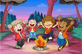 Постер, плакат: Иллюстрация огня лагеря детей в джунглях
