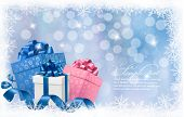 Christmas background with gift boxes and blue ribbons. Vector illustration.