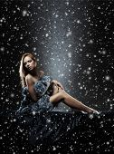 image of nu  - Young sexy lady in lingerie over Christmas background - JPG