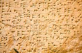 picture of mesopotamia  - Cuneiform writing of the ancient Sumerian or Assyrian civilization in Iraq - JPG