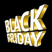 stock photo of tariff  - Black Friday 3d gold text - JPG