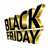 Black Friday 3d gold text