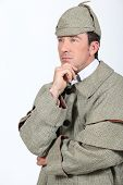picture of sherlock holmes  - Man in Sherlock Holmes outfit - JPG