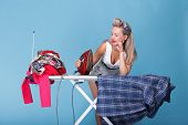 Pin Up Girl Retro Style Portrait Woman Ironing
