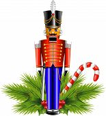 foto of nutcracker  - Nutcracker and a Christmas decoration - JPG