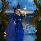 stock photo of merlin  - A lone wizard makes his way across a river crossing - JPG