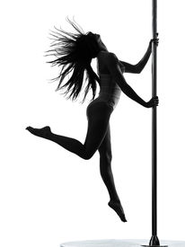 foto of lap dancing  - one caucasian woman pole dancer dancing in silhouette studio isolated on white background - JPG