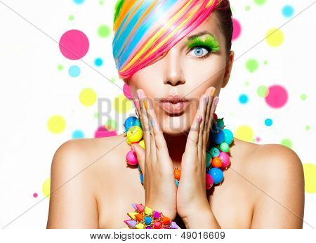Beauty Girl Portrait with Colorful Makeup, Hair, Nail polish and Accessories. Colourful Studio Shot  poster