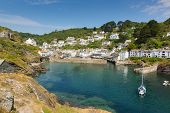 stock photo of west village  - Polperro fishing village harbour Cornwall England UK - JPG