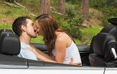 stock photo of straddling  - Young couple smooching on the backseat of a convertible - JPG