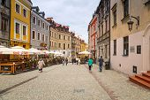 LUBLIN, POLAND - JULY 13: Old town in the city center of Lublin on 13 July 2013. Lublin is the large