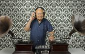 picture of grandpa  - funky elderly DJ on playing on gramophones - JPG