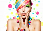 Beauty Girl Portrait with Colorful Makeup, Hair, Nail polish and Accessories. Colourful Studio Shot of Funny Woman. Vivid Colors. Manicure and Hairstyle. Rainbow Colors  t-shirt