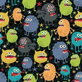 stock photo of microbes  - Cute monsters seamless texture with stars - JPG