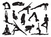 picture of pranayama  - Very detailed detailed high quality yoga woman silhouettes - JPG