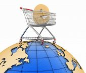 Sign of e-commerce  in a trolley on globe. Conception of trade transactions on the internet. 3d illu