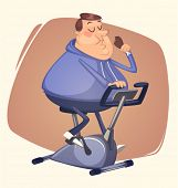 foto of obese man  - Fat man eating and riding - JPG