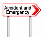 picture of triage  - Illustration depicting a sign directing to Accident and Emergency - JPG
