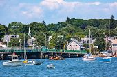 picture of dartmouth  - Padnaram Harbor Bridge Church Steeple Docks Piers Boats Schooner Buzzards Bay Dartmouth Masschusetts - JPG