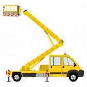 foto of cherry-picker  - Silhouette of a light cherry picker on a white background - JPG