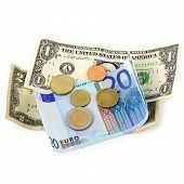 Постер, плакат: Деньги евро монеты и банкноты