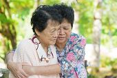 stock photo of cry  - Candid shot of an Asian mature woman hugs and consoling her crying old mother at outdoor natural park - JPG