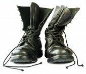 stock photo of grommets  - Military style black leather boots on white background - JPG