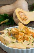 stock photo of butternut  - Butternut squash whole and halved  - JPG