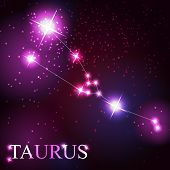foto of taurus  - vector of the taurus zodiac sign of the beautiful bright stars on the background of cosmic sky - JPG