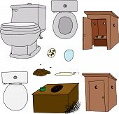 picture of outhouses  - Toilet and outhouse cartoons on isolated background - JPG