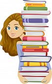 foto of bookworm  - Illustration of a Girl Carrying a Tall Stack of Books - JPG