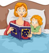 Illustration of a Mother Reading a Bedtime Story to Her Daughter