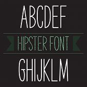 stock photo of skinny  - Modern minimal hipster font alphabet - JPG