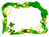 stock photo of fourleaf  - editable eps vector format jpeg large green bow at top corner with ribbon around edge with green fourleaf shamrocks as left bottom corner with gold horseshoes and shamrocks around edge - JPG