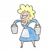 pic of milkmaid  - cartoon milkmaid carrying buckets - JPG