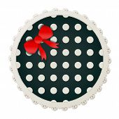 stock photo of girlie  - Illustration of a round polka dot sewing patch lined with a lace trim and accented with a small red bow - JPG