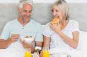 image of bed breakfast  - Happy mature couple having breakfast in bed at home - JPG